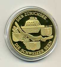 Medaille Schweiz der Zürichsee die Schweizer Seen vergoldet mit Zertifikat M_336
