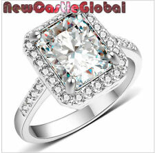 square design White Gold plated  Fake faux engagement ring size 6 7 8 9 10