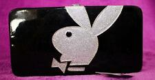PLAYBOY CLUTCH  black silver glitter bag wallet purse ID organizer bills coins