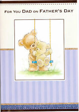 For You Dad On Father's Day Card. Father Teddy Pushing Baby Teddy On A Swing.