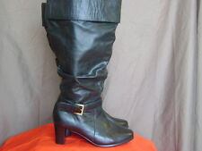 David Tate Women's Extra Wide Calf Black Leather Boot Size 8.5 W