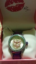NWT Betsey Johnson Rainbow/Oilslick Owl Watch-BJ00019-73+Free USA Shipping