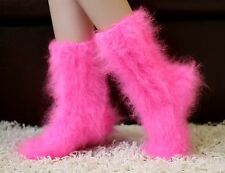 SUPERTANYA Hand knitted mohair socks Fuzzy NEON PINK Fluffy leg warmers SALE