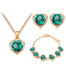 Gold & Emerald Green Hearts Jewellery Set Stud Earrings Necklace & Bracelet S729