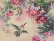 Dimensions Stamped Cross Stitch Kit  Hummingbird Fuchsias Lena Liu 14x12