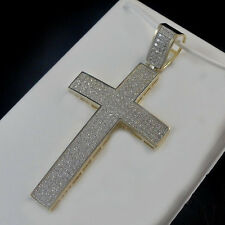10K REAL SOLID YELLOW GOLD MEN'S WOMEN'S CROSS PENDANT CHARM 2.55 INCH 9.6 GRAMS