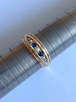 Attractive Fine Edwardian 18ct Gold Natural Sapphire & Seed Pearl Ring
