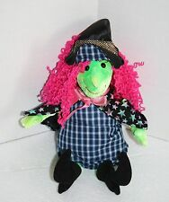 """TY Beanie Baby Plush Halloween SCARY WITCH 11"""" Star Cape Pink Hair Green Face"""
