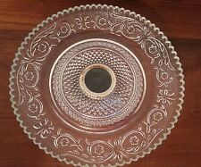 Vintage KIG Indonesia Fleur de lis Sandwich Glass Small Silver Footed Dish/Plate