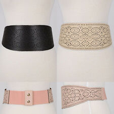 Women Western Fashion Wide Corset Heidi Waist Stretch Elastic Belt PU Leather