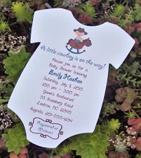 Cowboy Rocking Horse Themed Baby Shower Onesie Invitation All Wording Customized