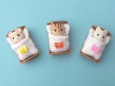 3 SLEEP BAGS for sylvanian family.Hand knitted. Heart. new (NOT FIGURES)sparkle