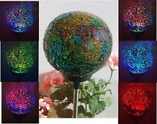 2x SOLAR GLASS BALL GARDEN LAWN STAKE LAMP YARD PATHWAY COLOR CHANGE LED LIGHT