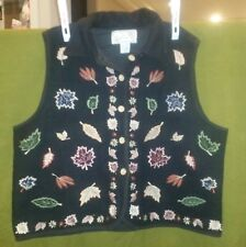 Size 2X Woman New Directions Wool Vest Plus Size Fall Black Autumn Leaves EUC