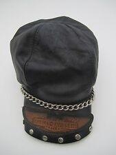 Harley Davidson black leather studded chain hat cap vintage