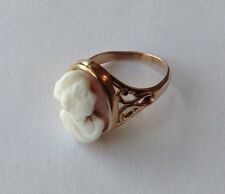 VINTAGE 10K YELLOW GOLD SHELL CAMEO RING SIZE 4.25