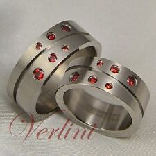 8MM Titanium Rings Matching Set Wedding Bands Round Red Ruby Simulated Jewelry