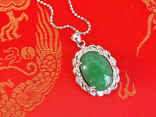 CHINESE GREEN JADE OVAL PENDANT NECKLACE BIRTHDAY NEW YEAR PARTY GIFT PO B11