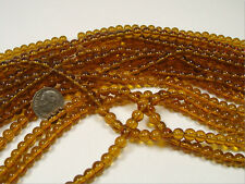 10 STRANDS 6MM ROUND AMBER GLASS BEADS LOT WHOLESALE (1210201513)