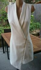 MISSGUIDED Stunning Ivory Collared Sleeveless Zip Up Aysmeticial Dress Size 8.