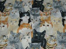 "Timeless Treasure"" REALISTIC CATS"" 100% Cotton by the Yard! Free Shipping!"