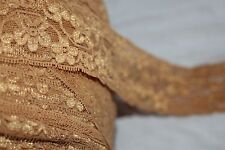"$1 yard Gold Golden Tan Galloon stretch Lace Headband sewing craft 1.75"" wide"