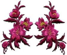 Fuschia pink flowers pair floral bouquet boho applique iron-on patches new S-981