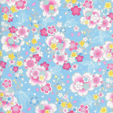 CHERRY BLOSSOMS: Blue/Silver Metallic Asian Japanese Fabric - (1/2 Yd)