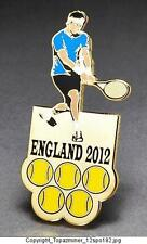 OLYMPIC PINS BADGE 2012 LONDON ENGLAND UK SPORT TENNIS PLAYER & RACKET-Gold