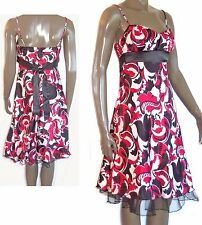 MARIPOSA White Black Red Ruched Empire STRAPPY SATIN DRESS S M tulle 30-36chest