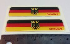 "Germany Deutschland Proud Flag Domed Decal Emblem Car Sticker 3D 4""x1"" Set of 2"
