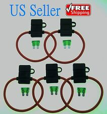 5Pack 10Gauge Inline ATC Fuse Holder+30AMP Fuse With Cover New Car Truck Install
