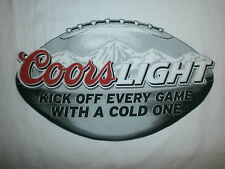 COORS LIGHT BEER FOOTBALL T SHIRT Kick Off Game With A Cold One Silver Bullet LG
