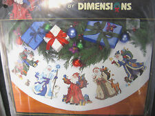 Dimensions Gold Cross Stitch Tree Skirt or Table Cover Kit ST. NICHOLAS 8692 HTF