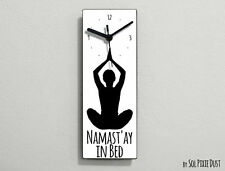 Namast'ay In Bed - White Funny Wall Clock
