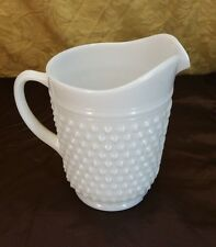 "Vintage Fenton White Milk Glass Hobnail 8"" Tall Pitcher"