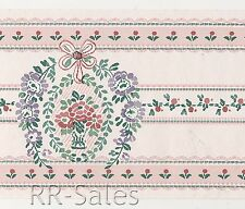 Flower Bouquet Arbor with Tiny Floral Stripes Pink Vintage Wallpaper Wall Border