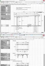 Abbund Dachstuhl Excelprogramm Carport, Fahrzeugunterstand,....
