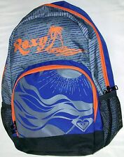 ROXY BLUE/GRAY TROPICAL BEACH PRINT LOGO 18 INCH 2 COMPARMENT BACKPACK NEW