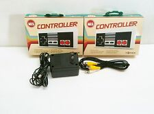 2 NEW NES 8 bit Controllers + AC Adapter Power Cord + AV RCA Cables for Nintendo