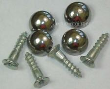 "4 x MIRROR SCREWS WITH  SILVER CHROME DOME HEADS 3/4"" / 20mm LONG"