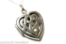 "Solid Sterling Silver Celtic Heart Locket Pendant and 18"" chain Gift Boxed"