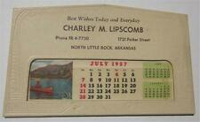 NORTH LITTLE ROCK ARKANSAS 1957 ADVERTISING CALENDAR CHARLEY M LILPSCOMB