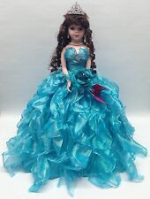 NEW Aqua 20 inch My 15 XV Anos Quinceanera Ruffle Dress Porcelain Umbrella Doll