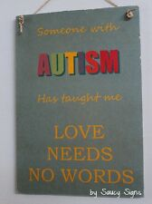Autism Love No Words Sign Daughter Son Children Kids Shabby Autistic Awareness