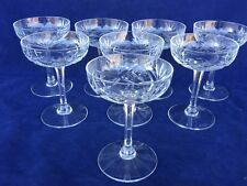 Set of 8 Chantilly Saint Louis Cut Clear Crystal Champagne Tall Sherbet Glasses