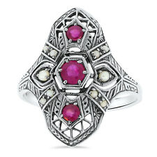 GENUINE RUBY SEED PEARL ANTIQUE DESIGN .925 SILVER FILIGREE RING SIZE 7, #23
