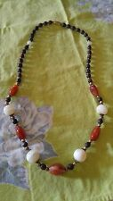 "VTG Necklace wood beads agate carnelian gem stone 24"" retro Hippie BOHO"