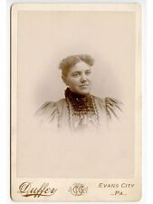 YOUNG LADY IN BEAUTIFUL CHECKERED DRESS BY DUFFEY, EVANS CITY, PA, CABINET PHOTO