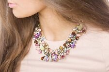 Statement Necklace Leafy Collar Embellished With Gems Pendant Fashion Jewelry